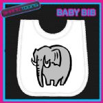 ELEPHANT WHITE BABY BIB PRINTED DESIGN